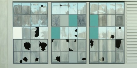 Sarah McKenzie, Gates Factory Window #4 (Grid with Green), 2012