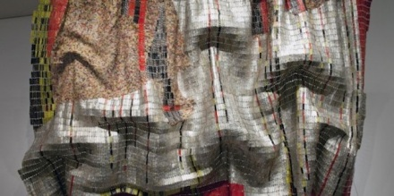 El Anatsui, Rain Has No Father?, 2008. Found bottle tops with copper wire; 158 x 237 in. Denver Art Museum; funds from Native Arts acquisition fund, U.S. Bank Colorado, Douglas Society, DAM Volunteer Endowment, African-American Outreach Committee and private individuals.