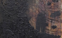 "Rashid Johnson. Phoenix Bird (detail), 2013. Burned red oak flooring, black soap, wax and spray enamel. 96 1/2 x 72 1/2 x 3/10 "". Courtesy the artist and Hauser & Wirth, New York."